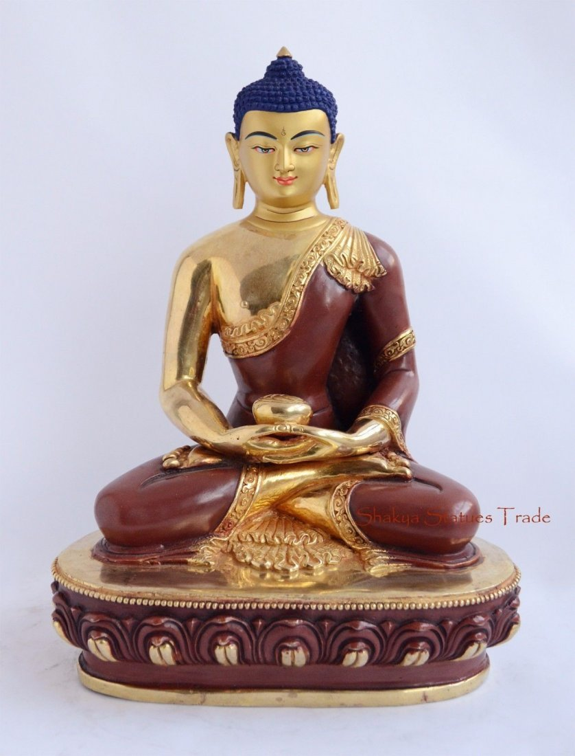 "11"" Amitabha Buddha Gold Gilded Face Painted Copper"