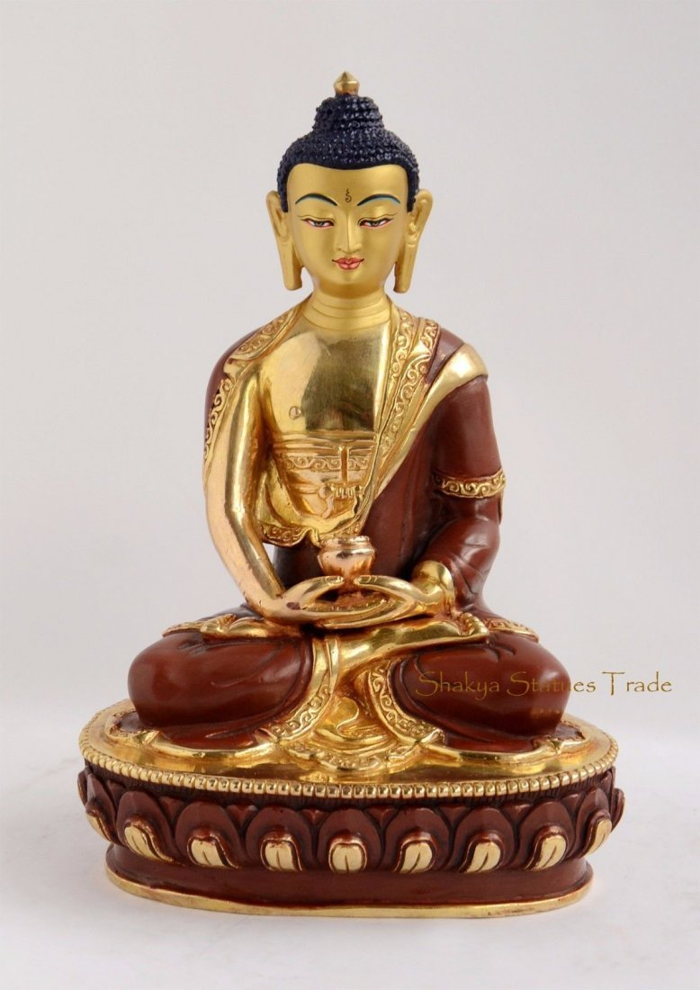 "8.25"" Amitabha Buddha Gold Gilded with Face Painted"