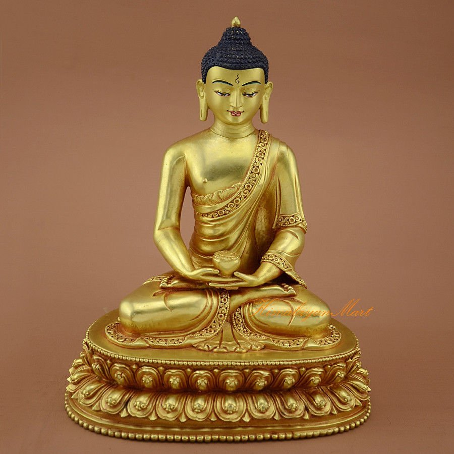 "Gold Gilded Face Painted 8.75"" Amitabha Buddha Copper"