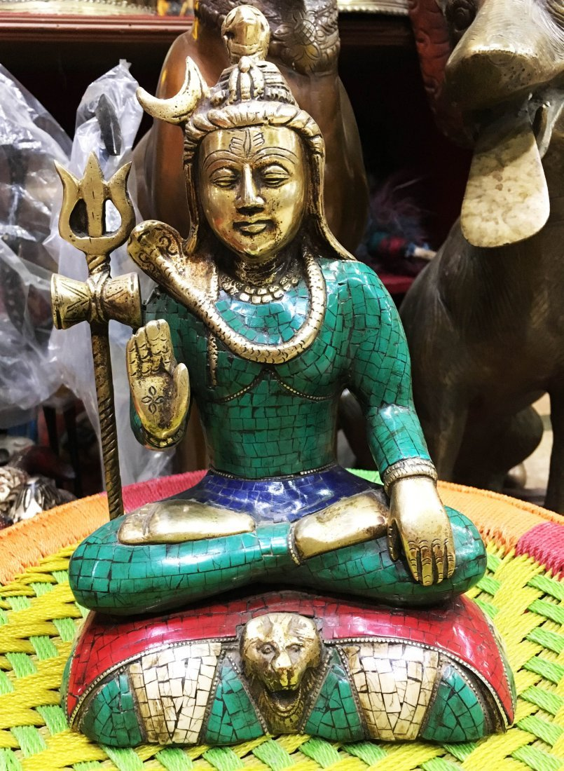 "Antique Old Handmade Bronze 10"" Lord Shiva Statue"