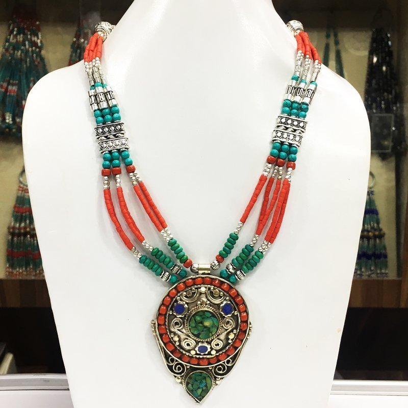 Antique Tibetan Silver Coral & Turquoise Necklace