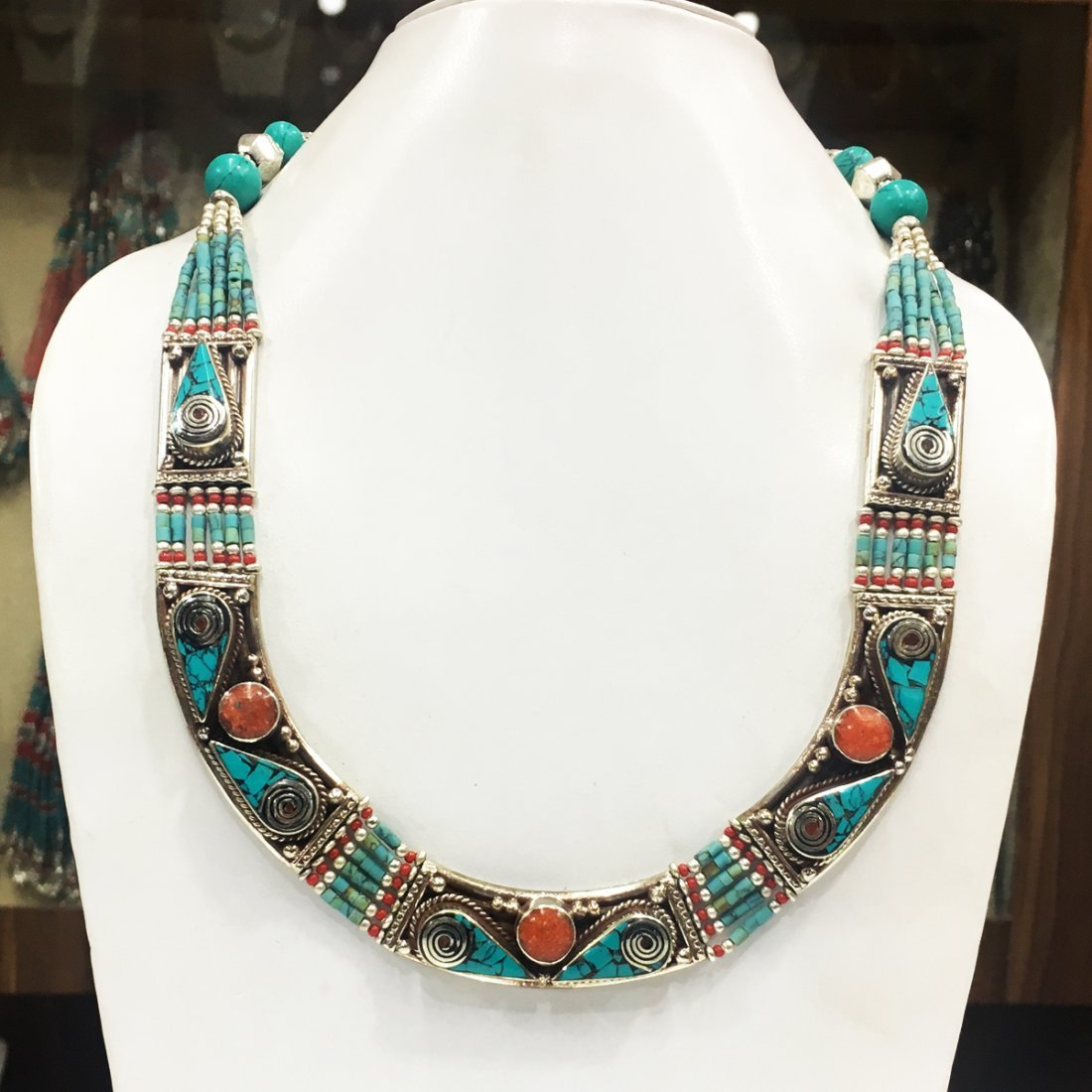 Tibetan Asian Ethnic Tibetan Silver Necklace