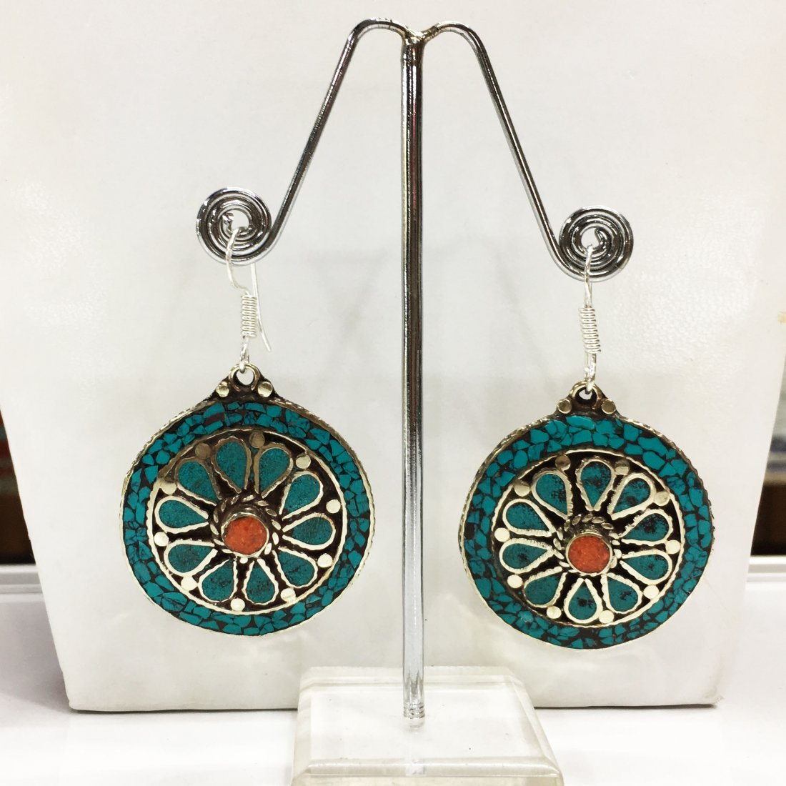 Mexican Bold Ethnic Turquoise Round Earring