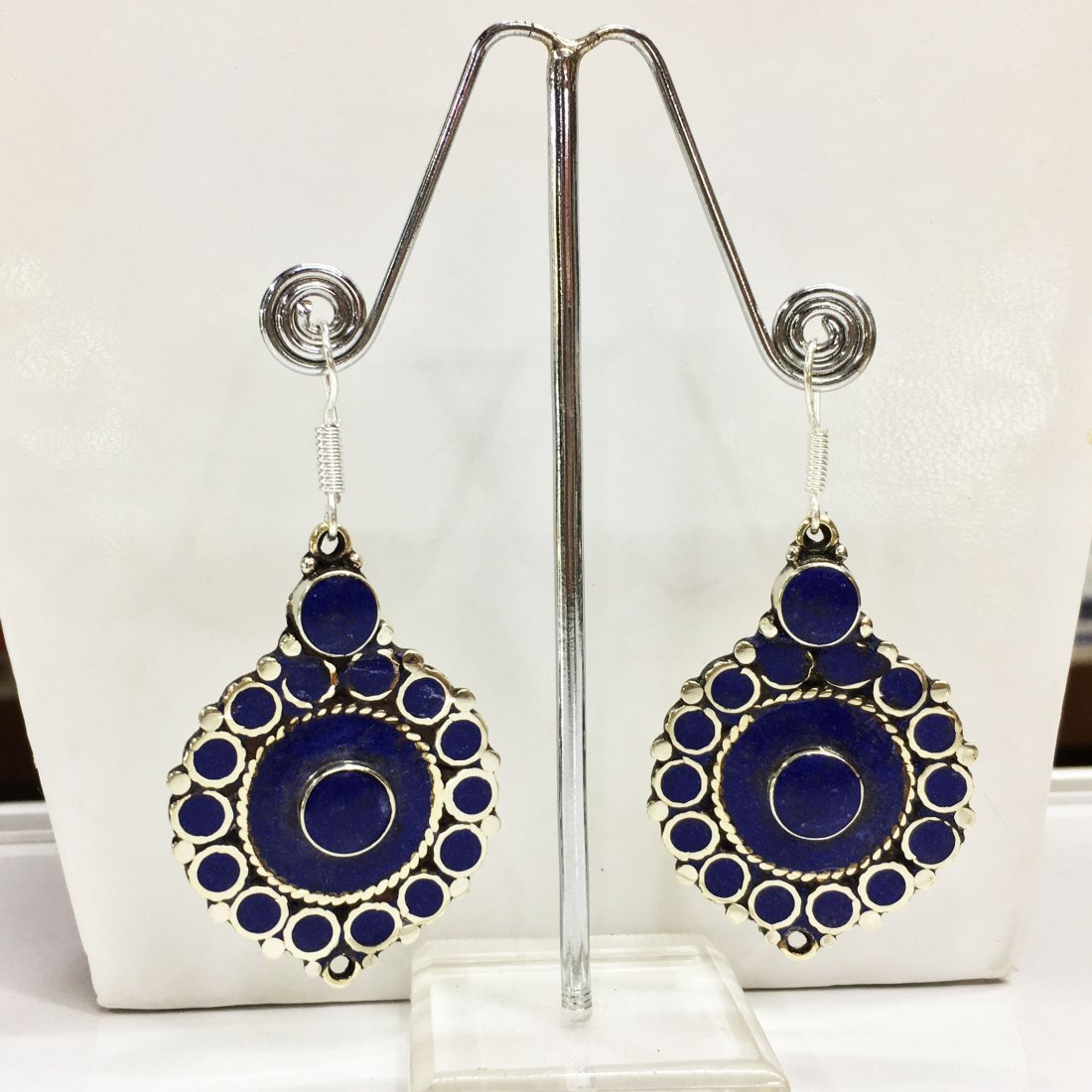 Tibetan Buddhist Lapis Vintage Earring