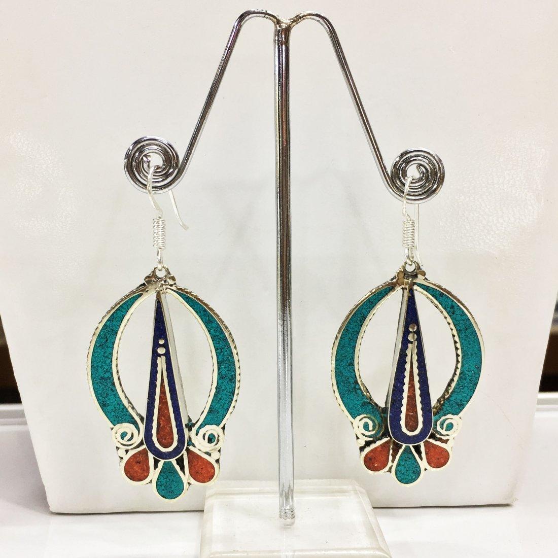 Vintage Turquoise & Coral Tibetan Handmade Earring