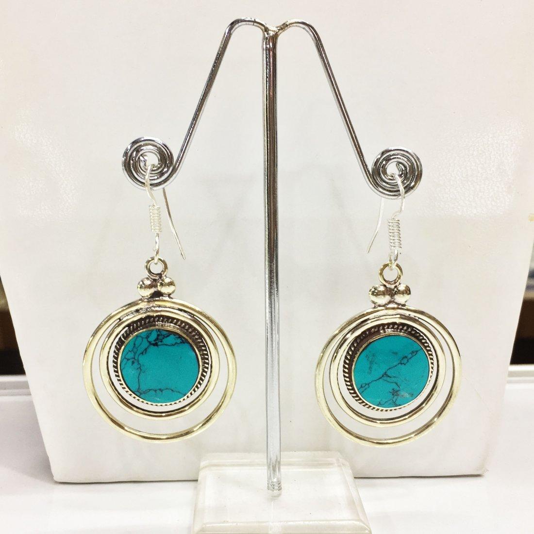 Turquoise Gemstone Tibetan Silver Earrings