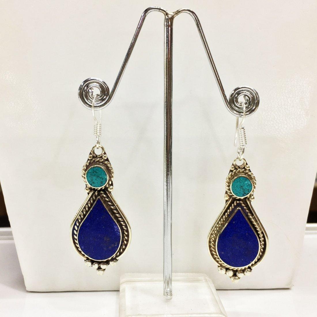 Turquoise & Lapis Handmade Tibetan Silver Earrings