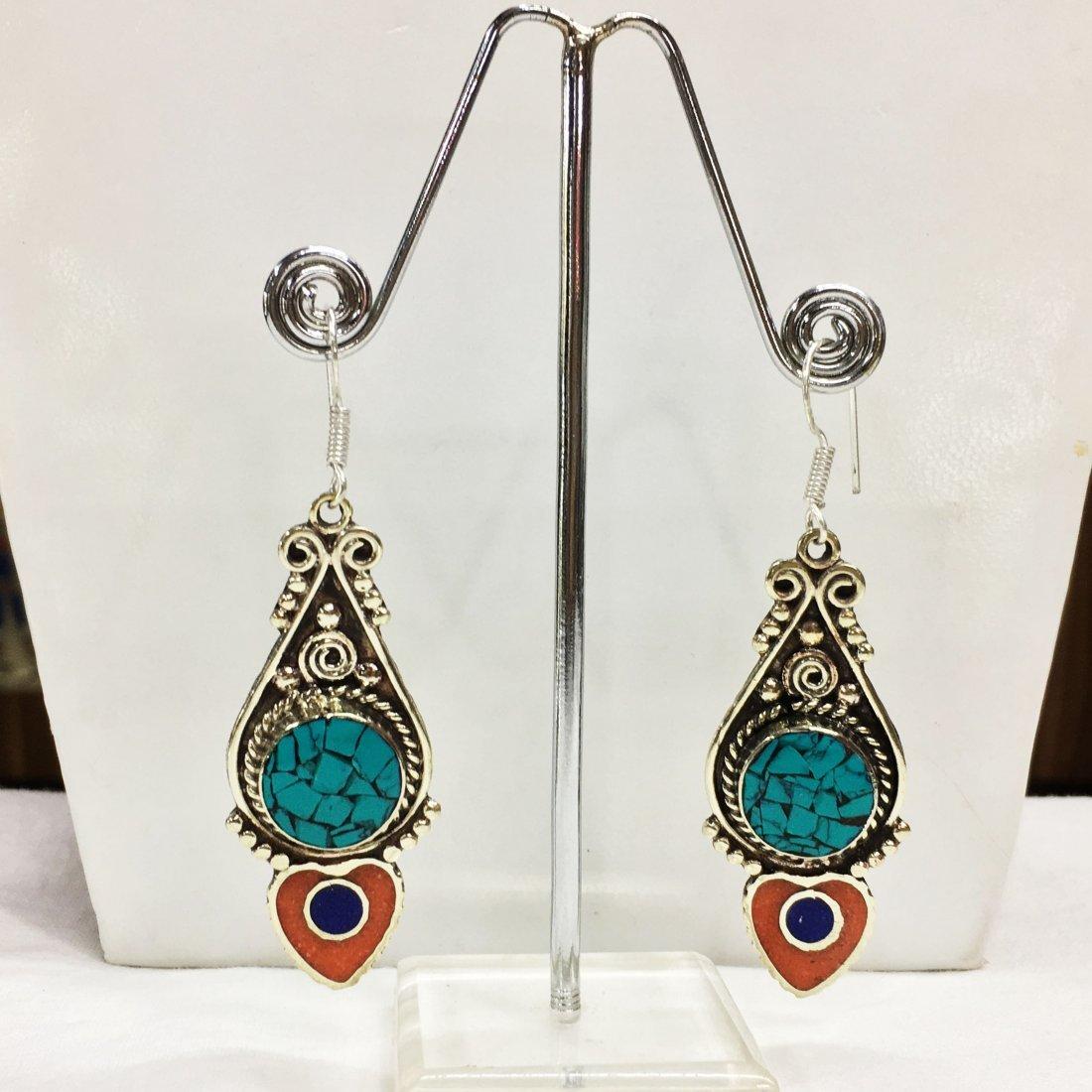 Beautiful handmade New Tibetan Tibet Silver Earring