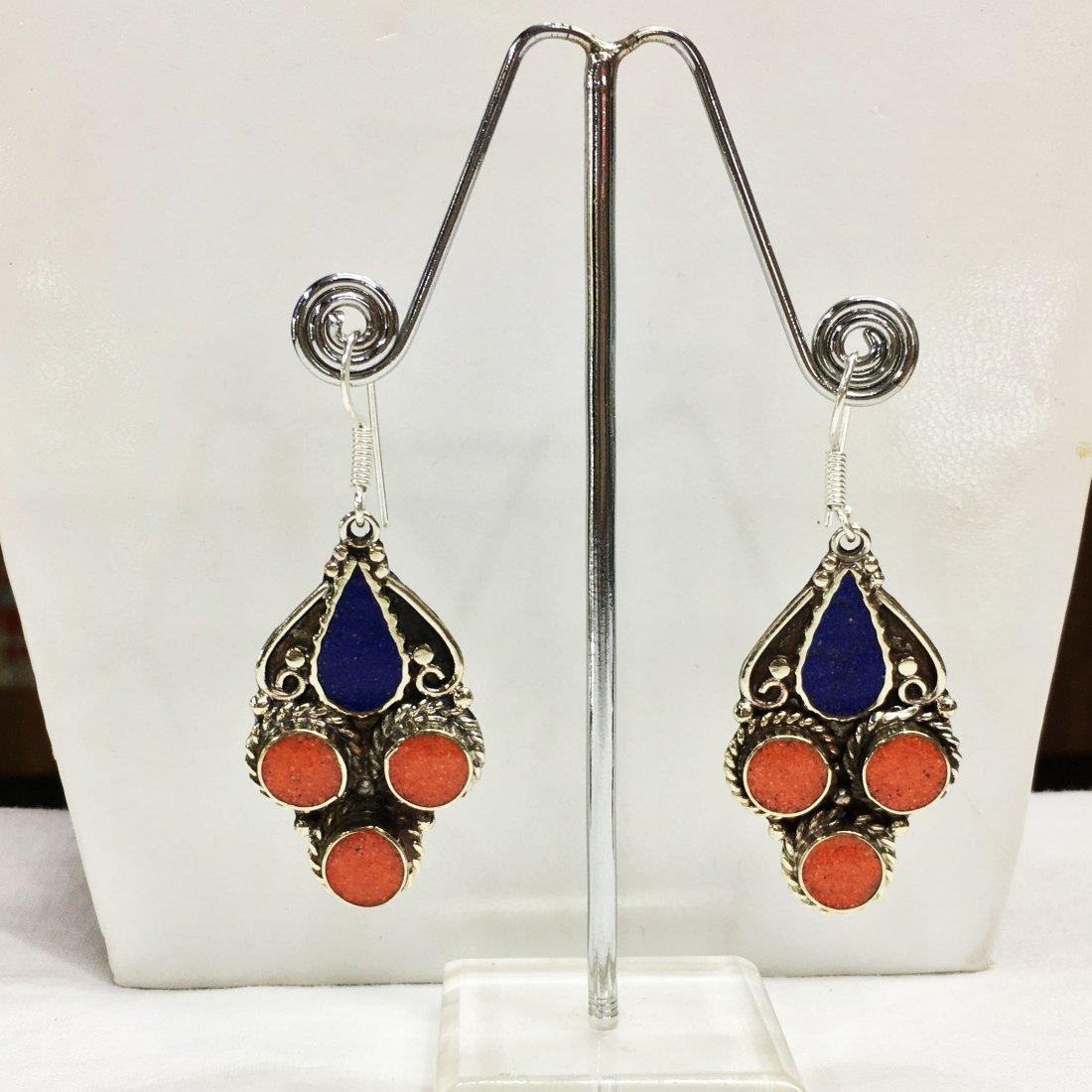 Tibetan Lapis & Coral Handmade Earring