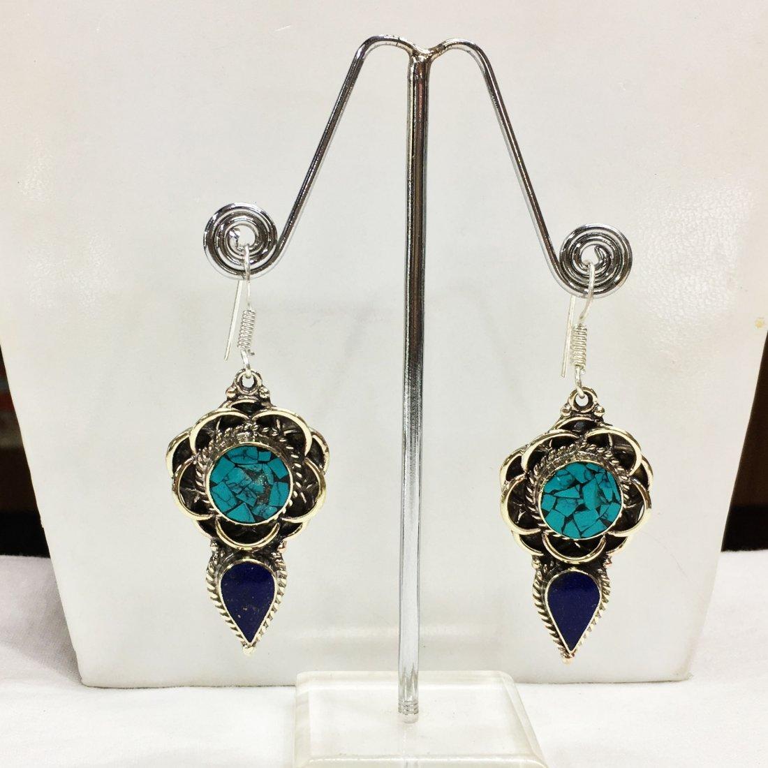 Tibetan Turquoise & Coral Handmade Earring