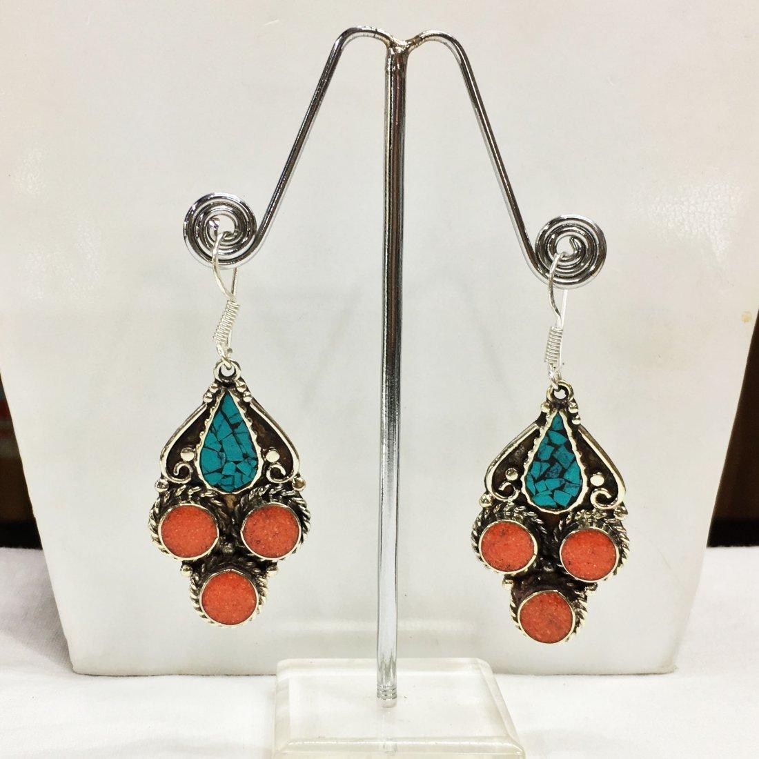 Tibetan Buddhist Turquoise & Coral Earring