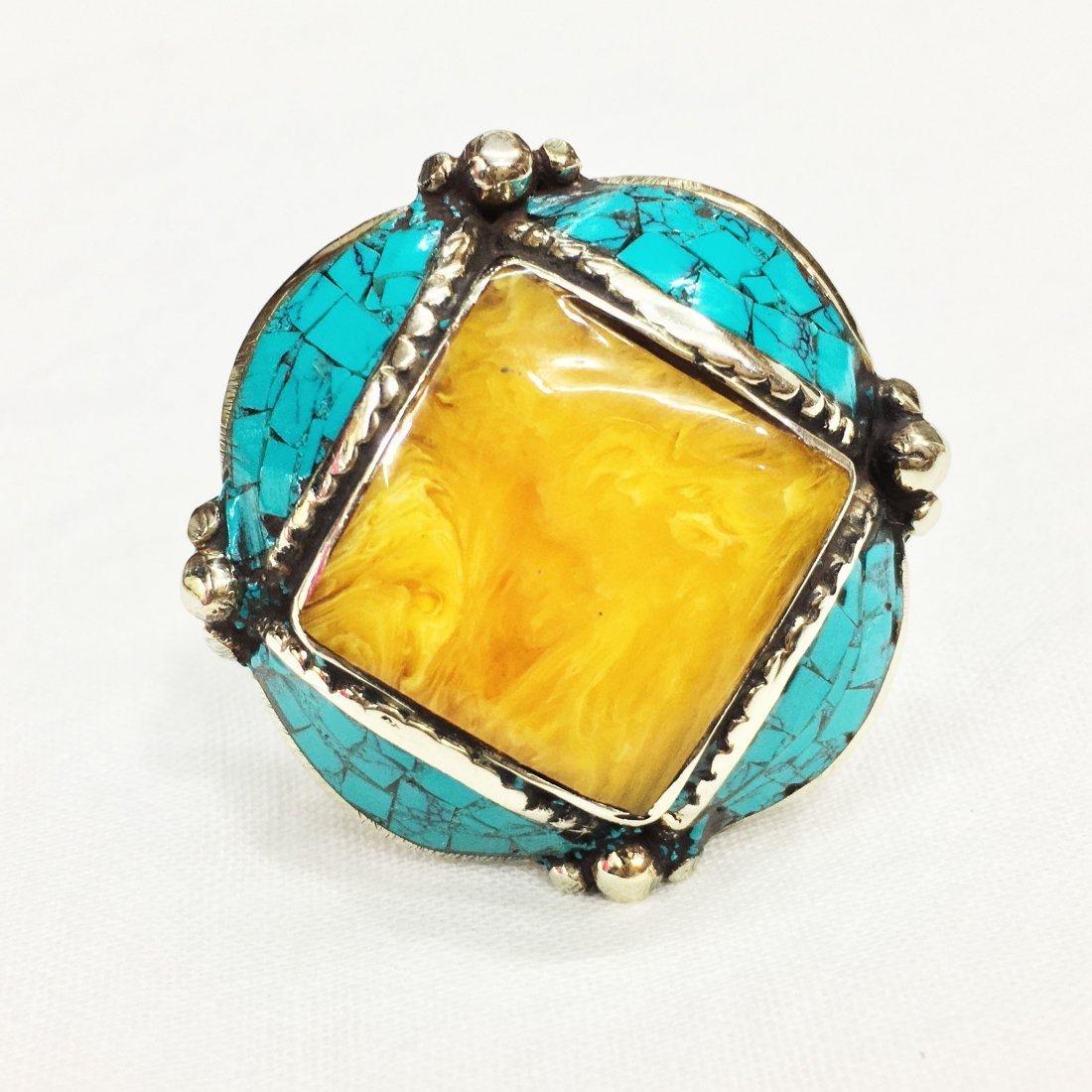 Free Size - Turquoise & Amber Tibetan Silver Ring