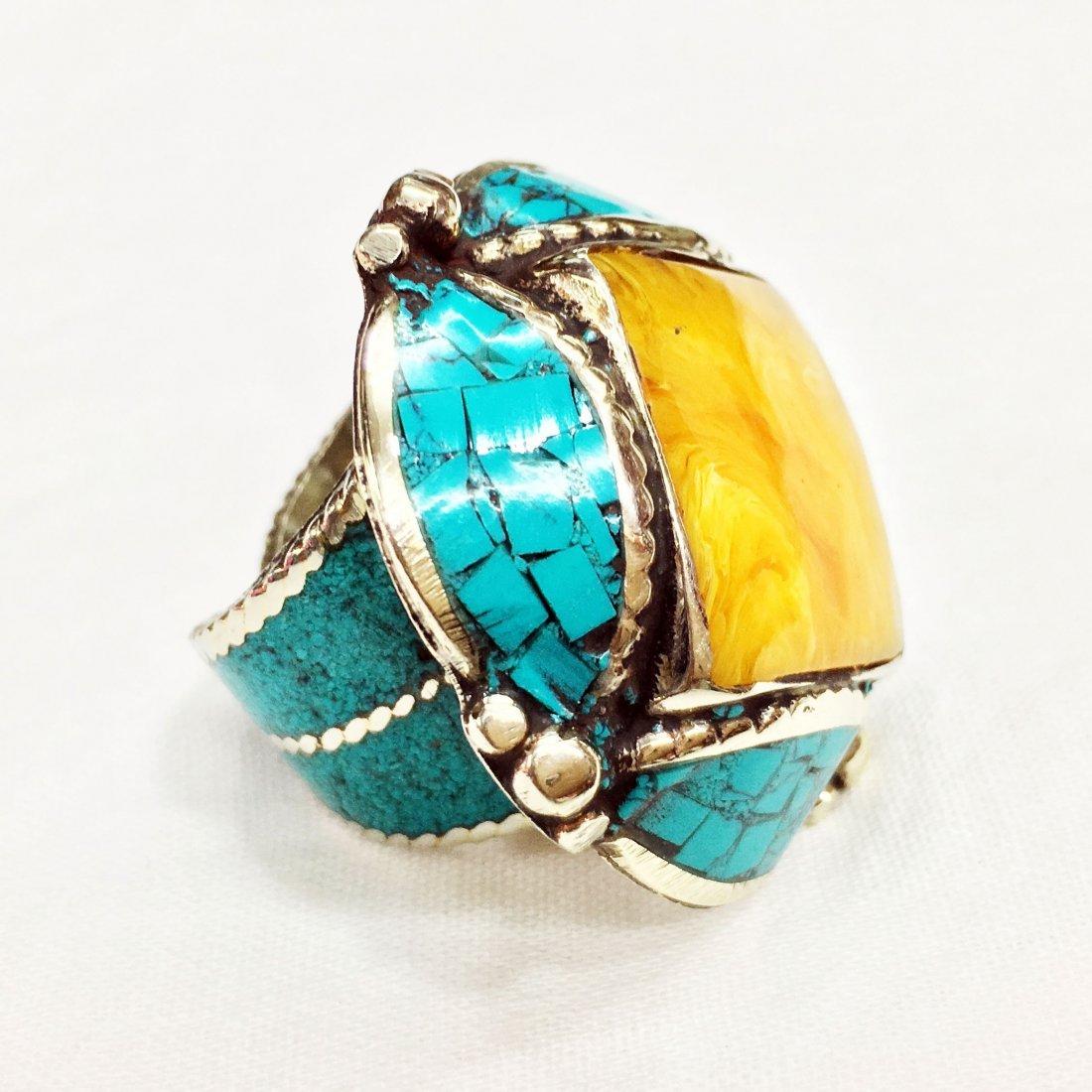 Free Size - Turquoise & Amber Tibetan Silver Ring - 2