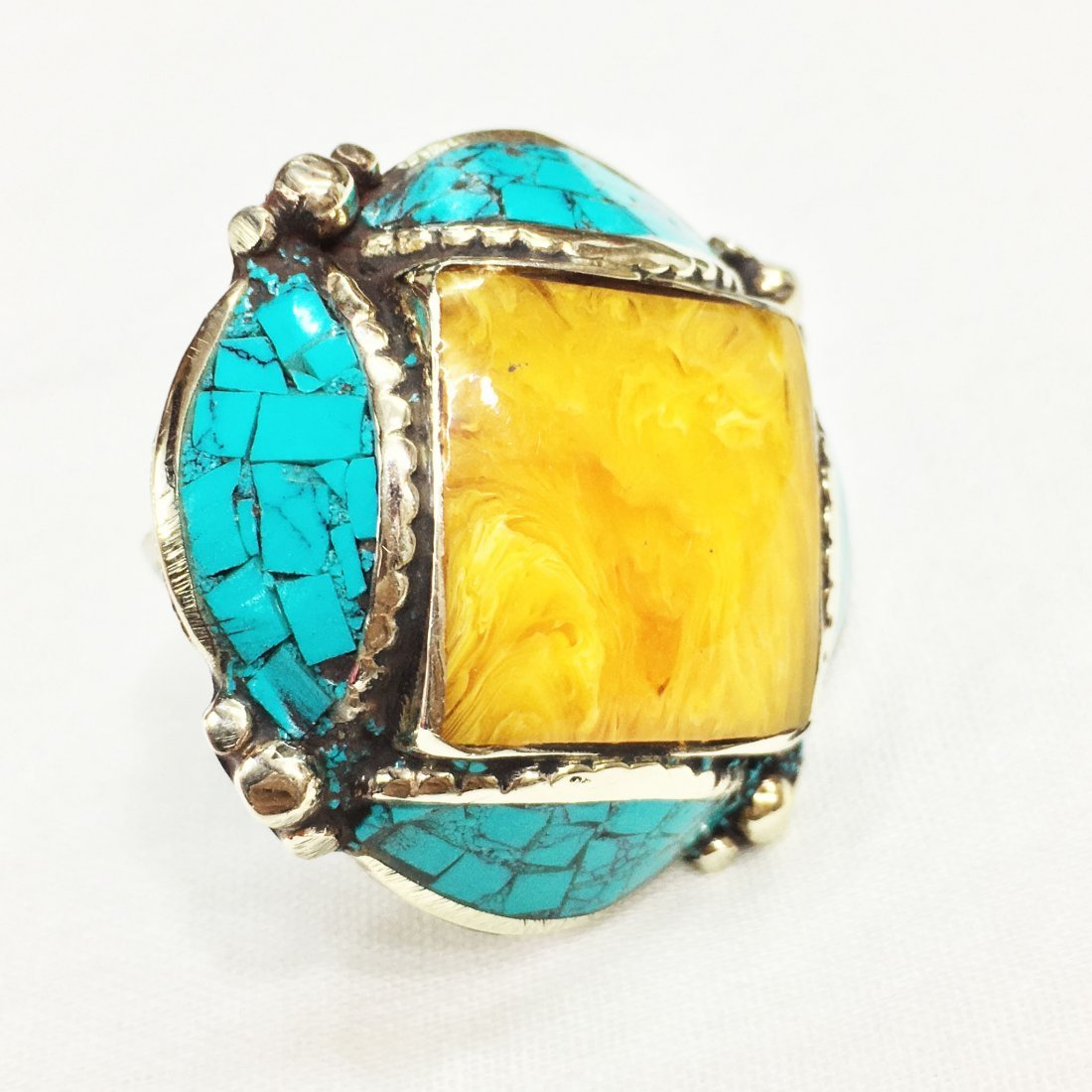 Free Size - Turquoise & Amber Tibetan Silver Ring - 3
