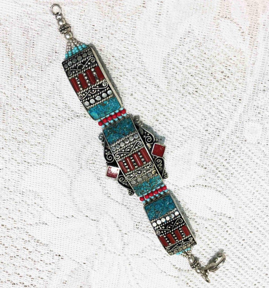 Traditional Vintage Turquoise & Lapis Bracelet