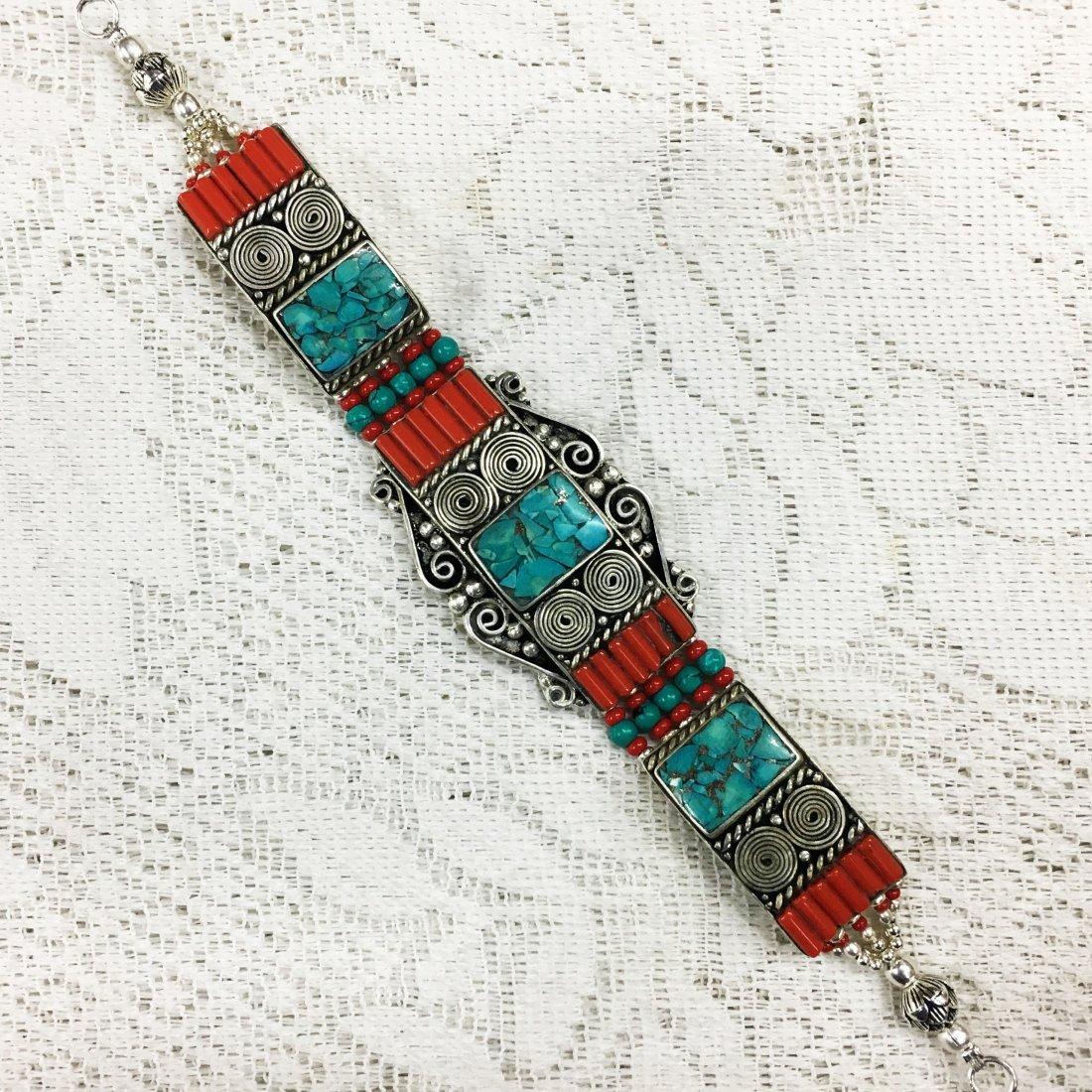 Vintage Silver Nepali Tibetan Turquoise Bracelet
