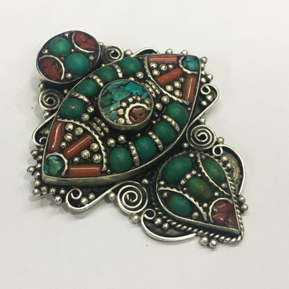 Bohemian Turquoise & Coral Tibetan Silver Pendant