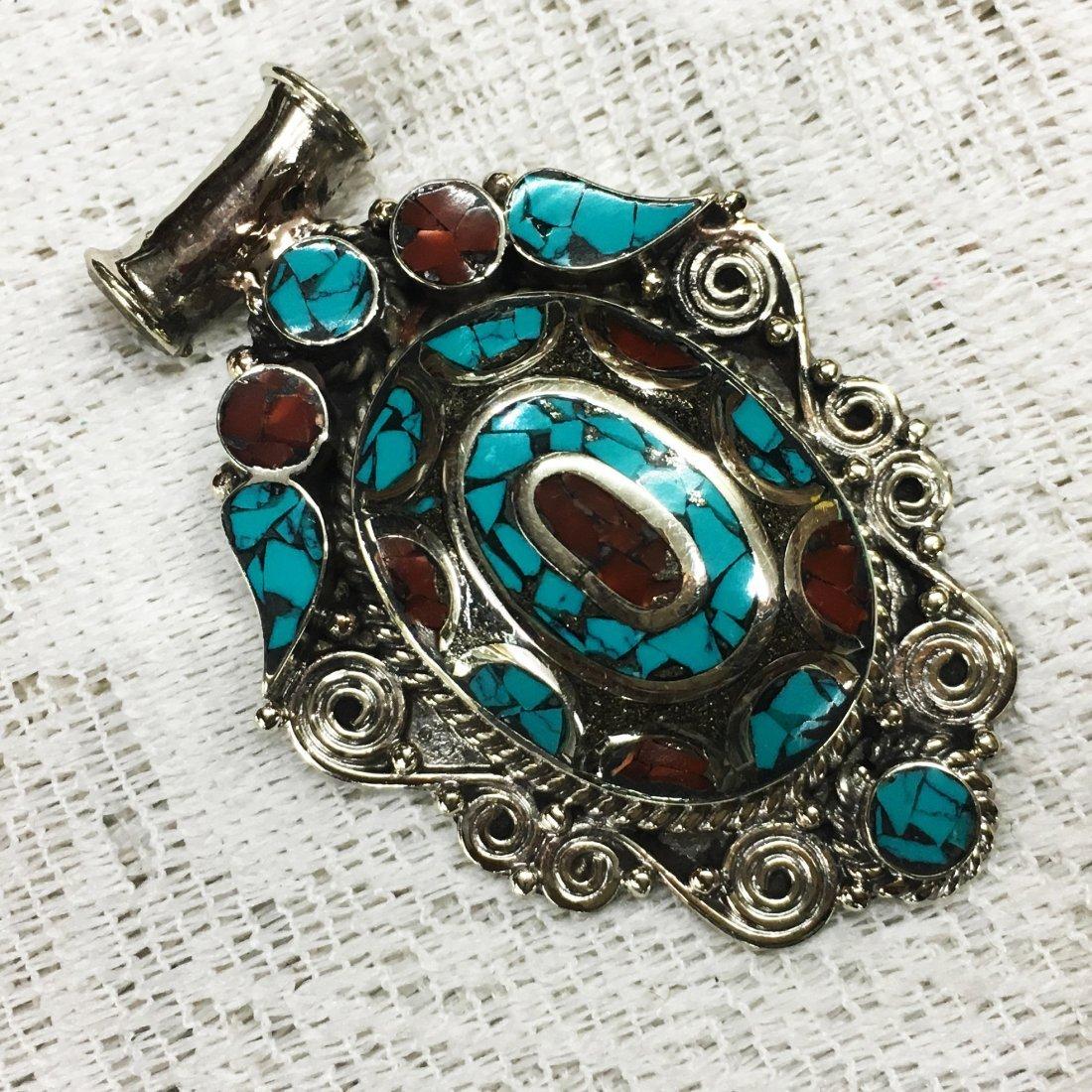 Buddhist Turquoise & Coral Vintage Tibet Pendant