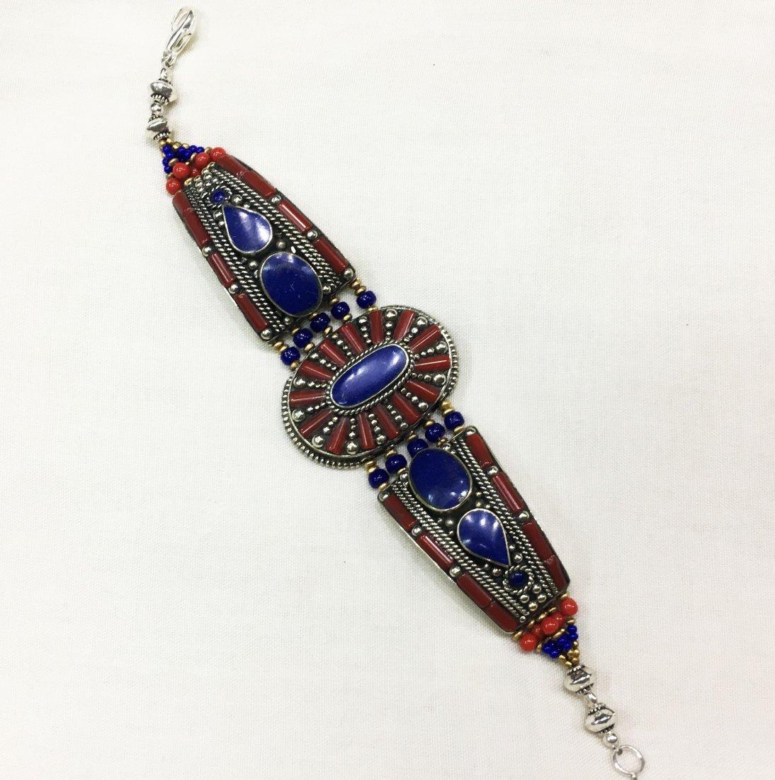 Tibetan Silver Handmade Ethnic Lapis Bracelet