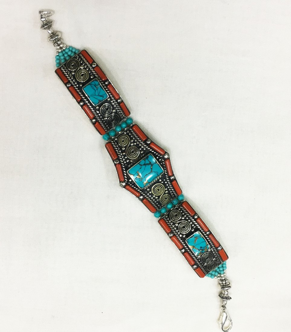 Turquoise Coral Mexican Choker Bracelet