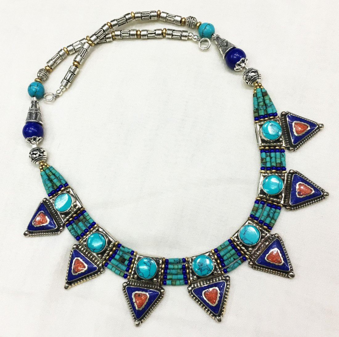 Genuine Turquoise & Lapis Beads Necklace
