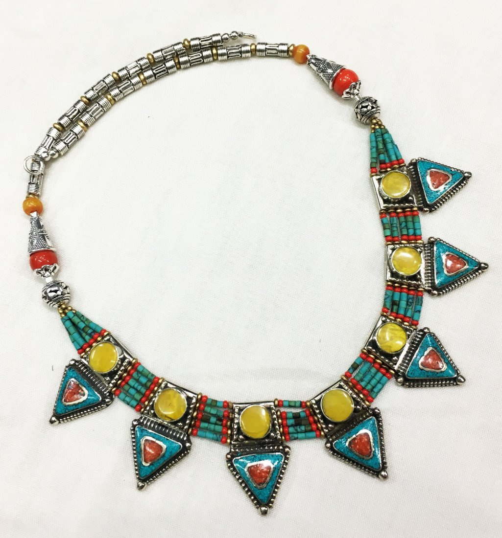 Buddhist Turquoise & Amber Vintage Necklace