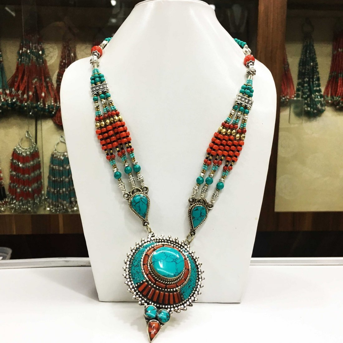 Turquoise & Coral Awesome Nepali Necklace