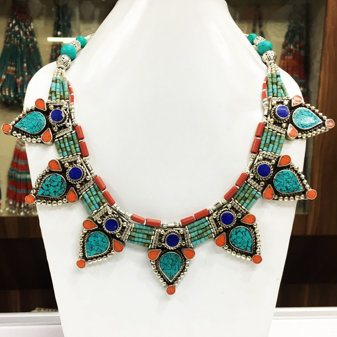 Turquoise & Coral Vintage Tibetan Necklace