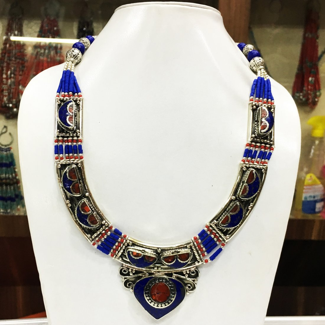 Statement Dangle Gypsy Lapis Necklace