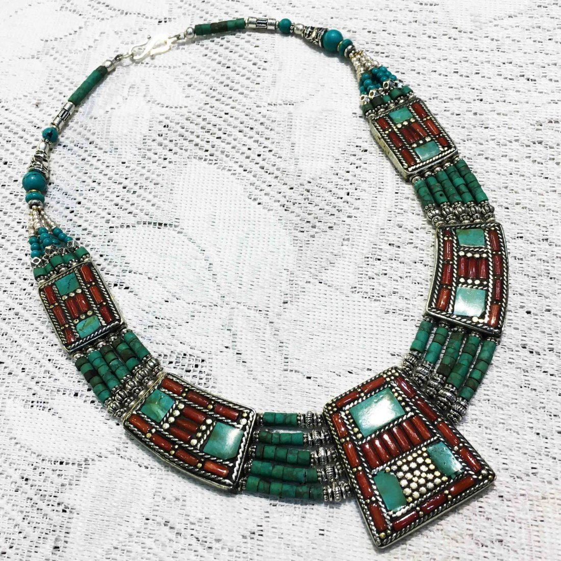 Buddhist Turquoise & Coral Vintage Necklace