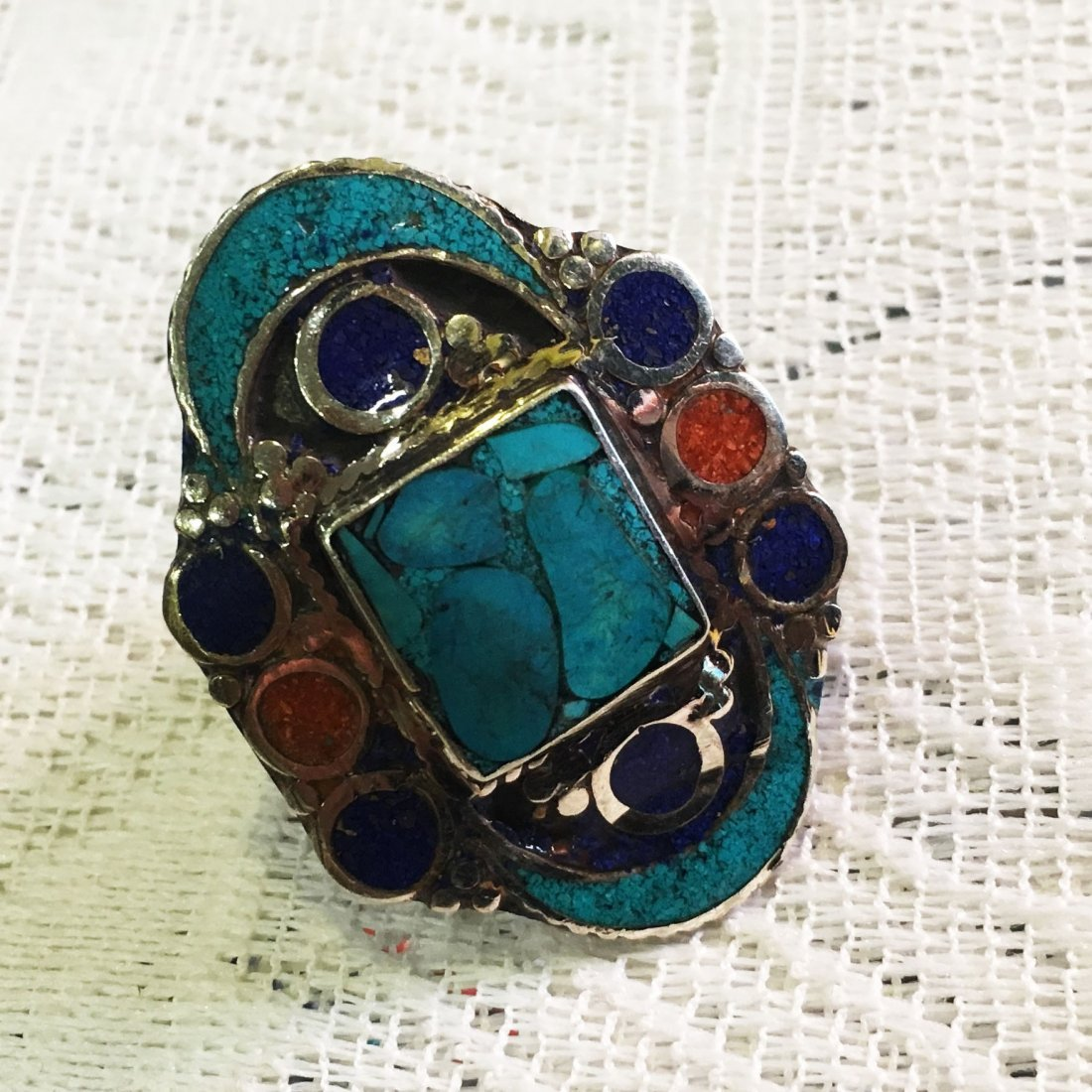 Free size - Nepalese Handmade Turquoise Ring