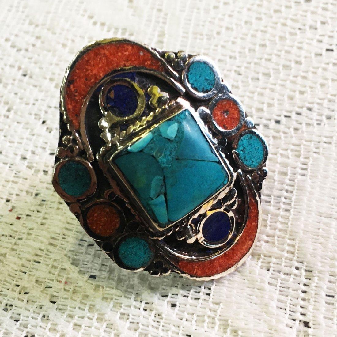 Free size - Vintage Turquoise & Coral Tibetan Ring