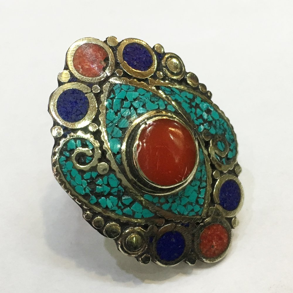 Free size Handmade Turquoise & Red Coral Tibetan Ring