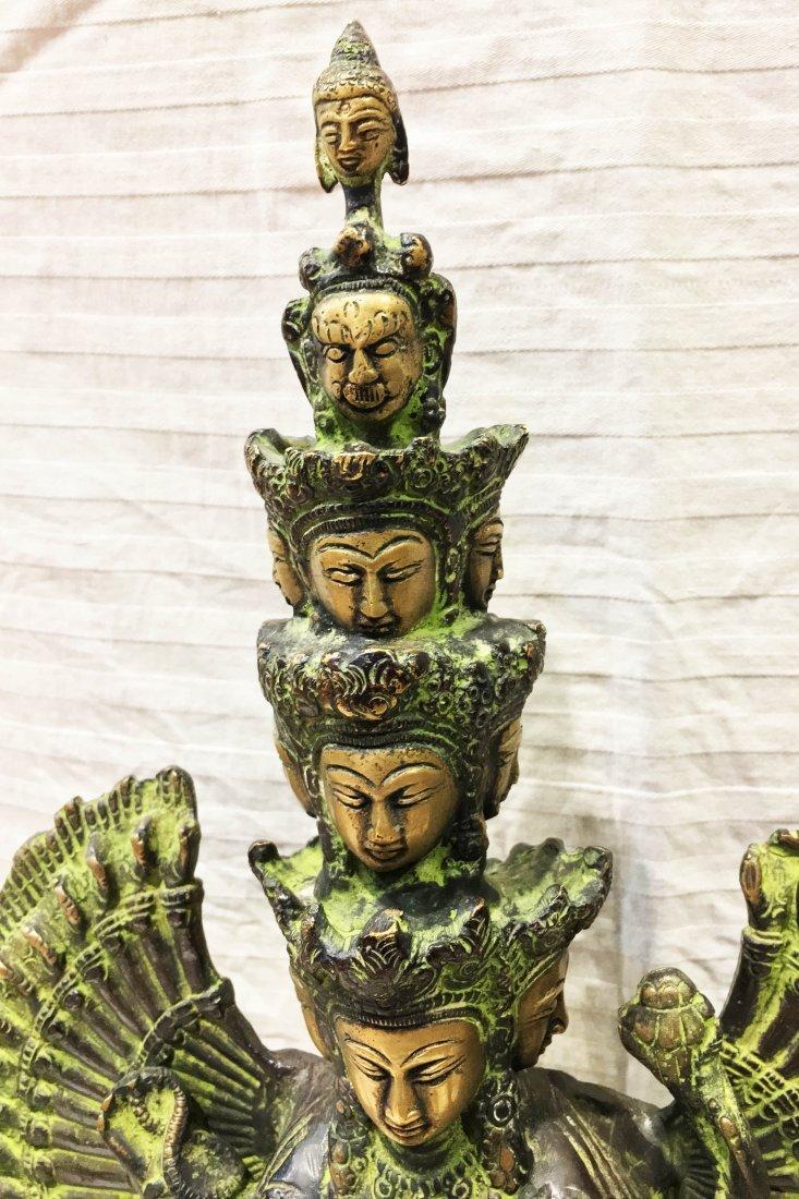"Lokeshvara Antique old 15"" Handmade Bronze Statue - 4"