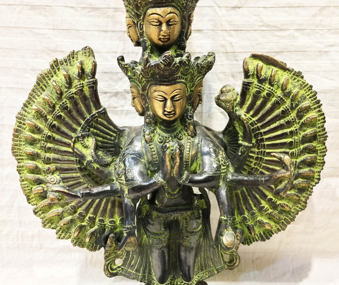 "Lokeshvara Antique old 15"" Handmade Bronze Statue - 5"