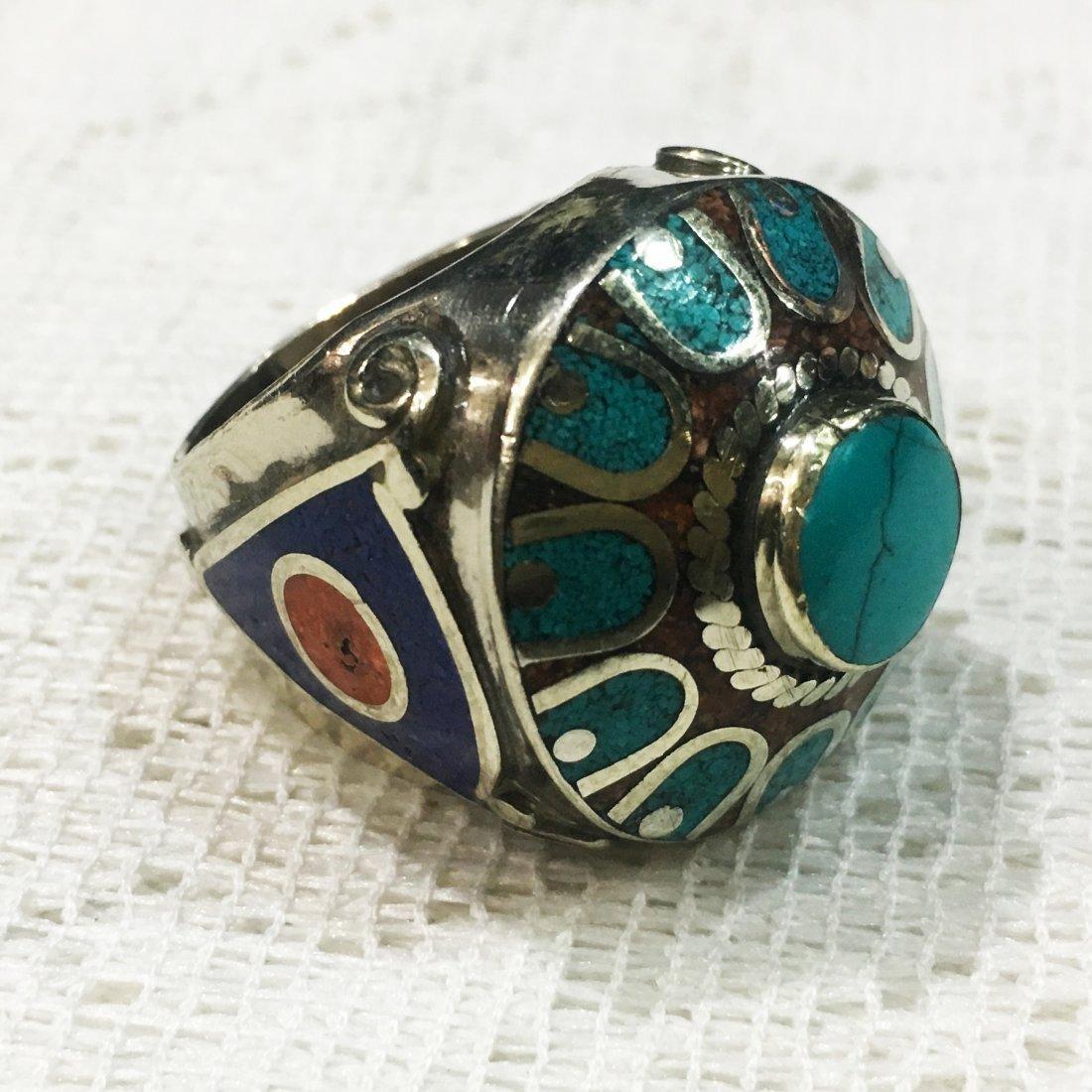 9MM Vintage Tibetan Silver Turquoise & Lapis Ring
