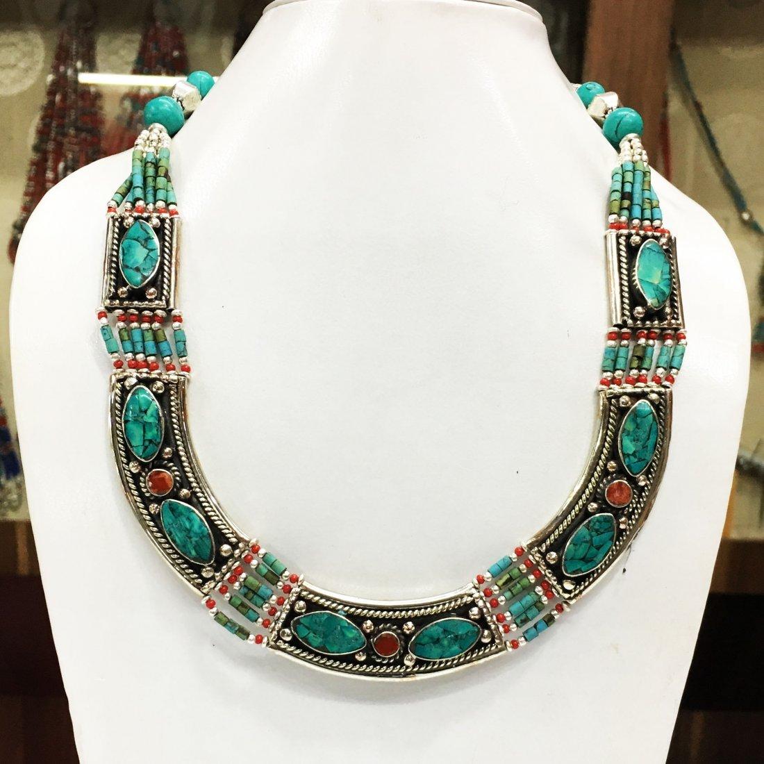 Tibetan Buddhist Lapis & Coral Vintage Necklace