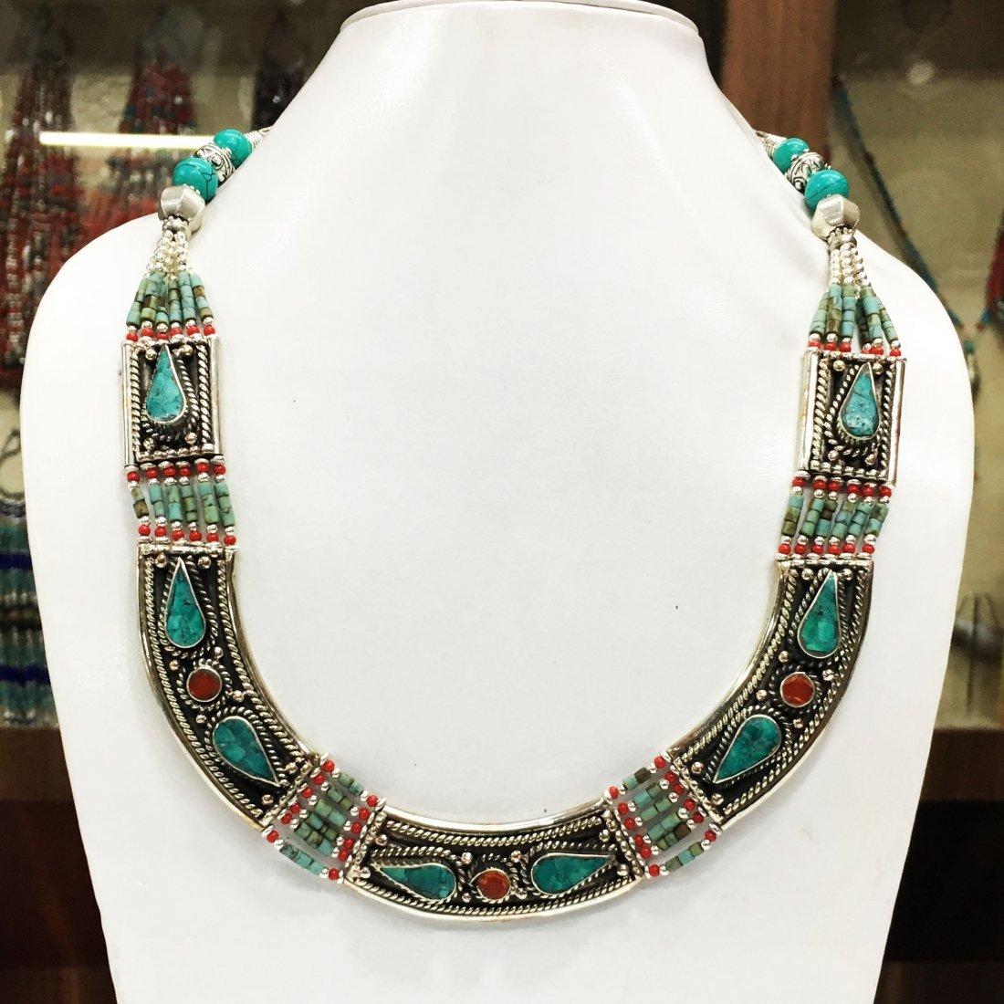 Vintage Turquoise & Coral Tibetan Handmade Necklace