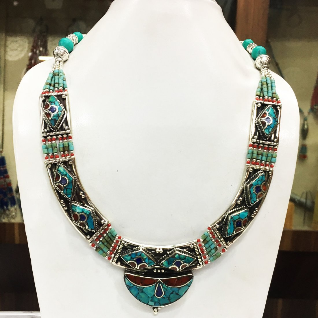 Bohemian Style Silver Tribal Turquoise Necklace