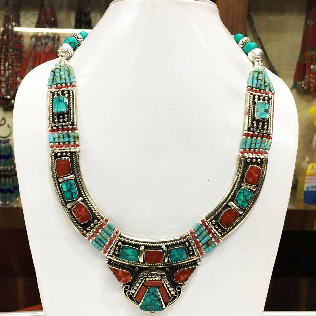 Handmade Tibetan Turquoise & Lapis Necklace