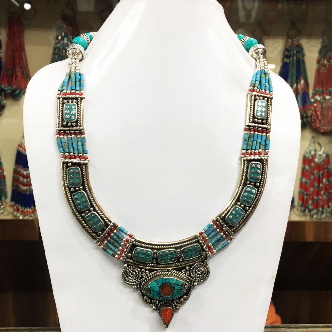 Turquoise & Coral Beads Handmade Necklace