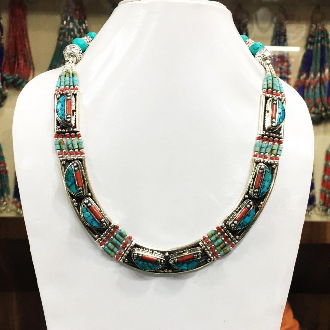 Nepalese Artisan Tibetan Lapis & Coral Necklace