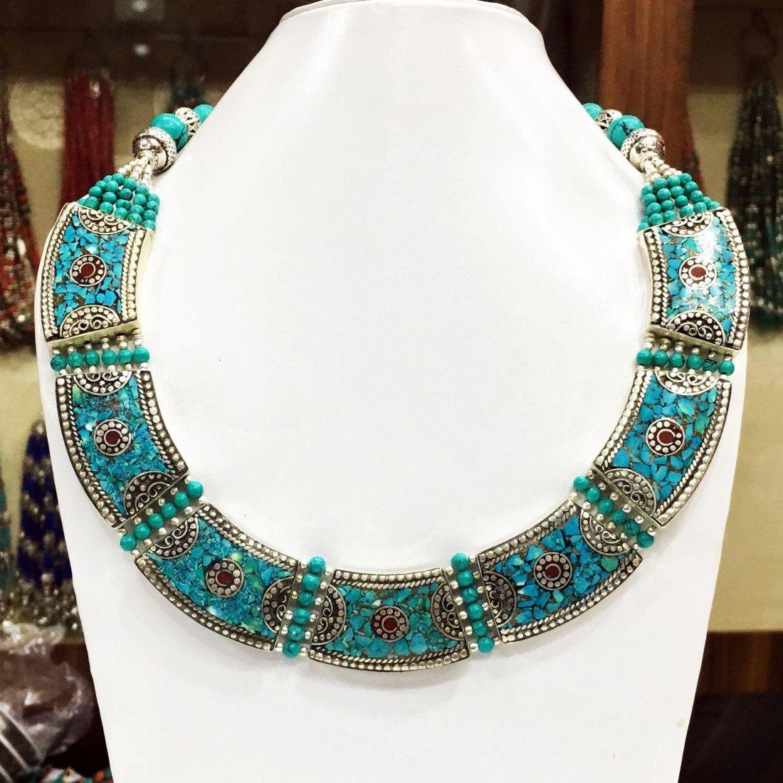 Handmade Turquoise Tibetan Choker Necklace