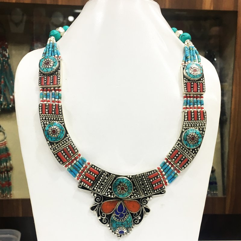 Traditional Tibetan Turquoise with Coral Necklace