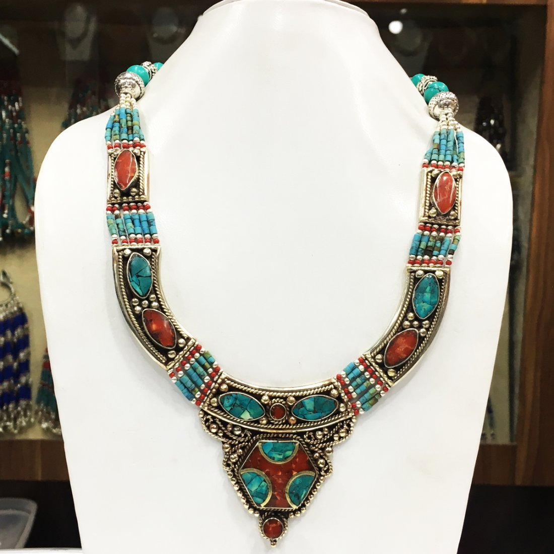 Turquoise & coral Tribal Bohemian Big Necklace
