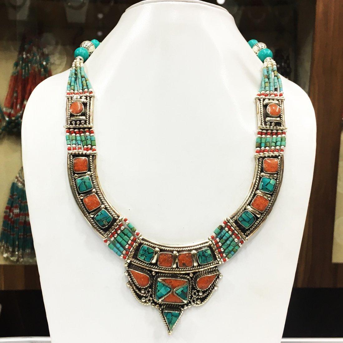 Turquoise & Coral Tibetan Handmade Necklace