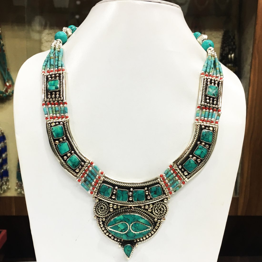 Turquoise Handmade Tribal Bohemian Big Necklace