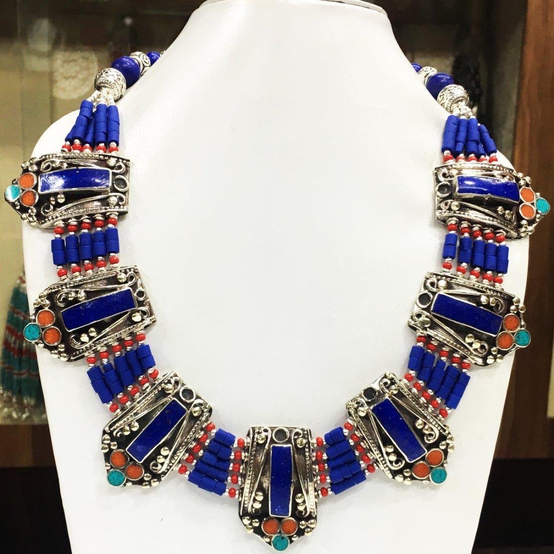 Antique Traditional Vintage Lapis Choker Necklace