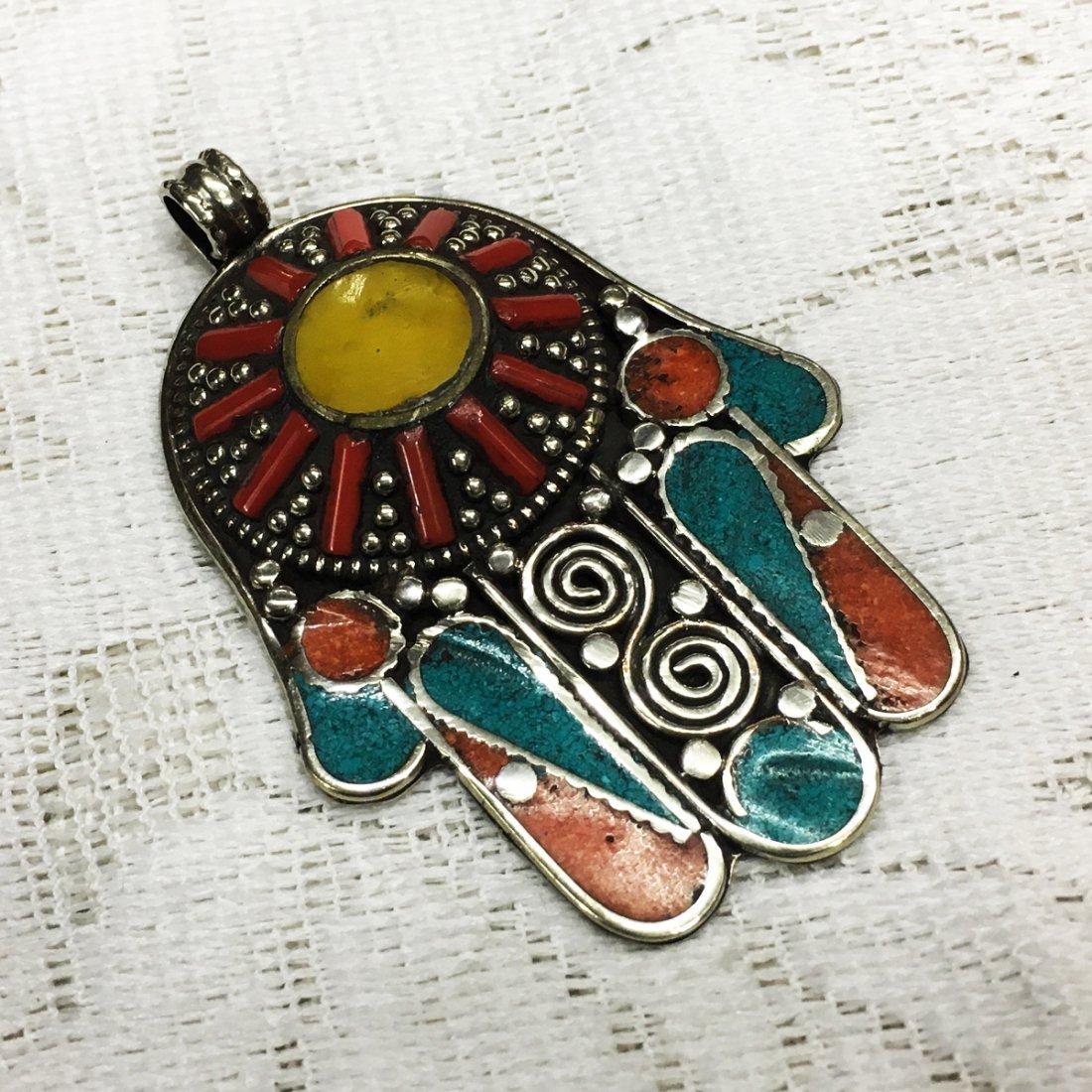 Banjara Amber Tibetan Silver Designer Hand Pendant