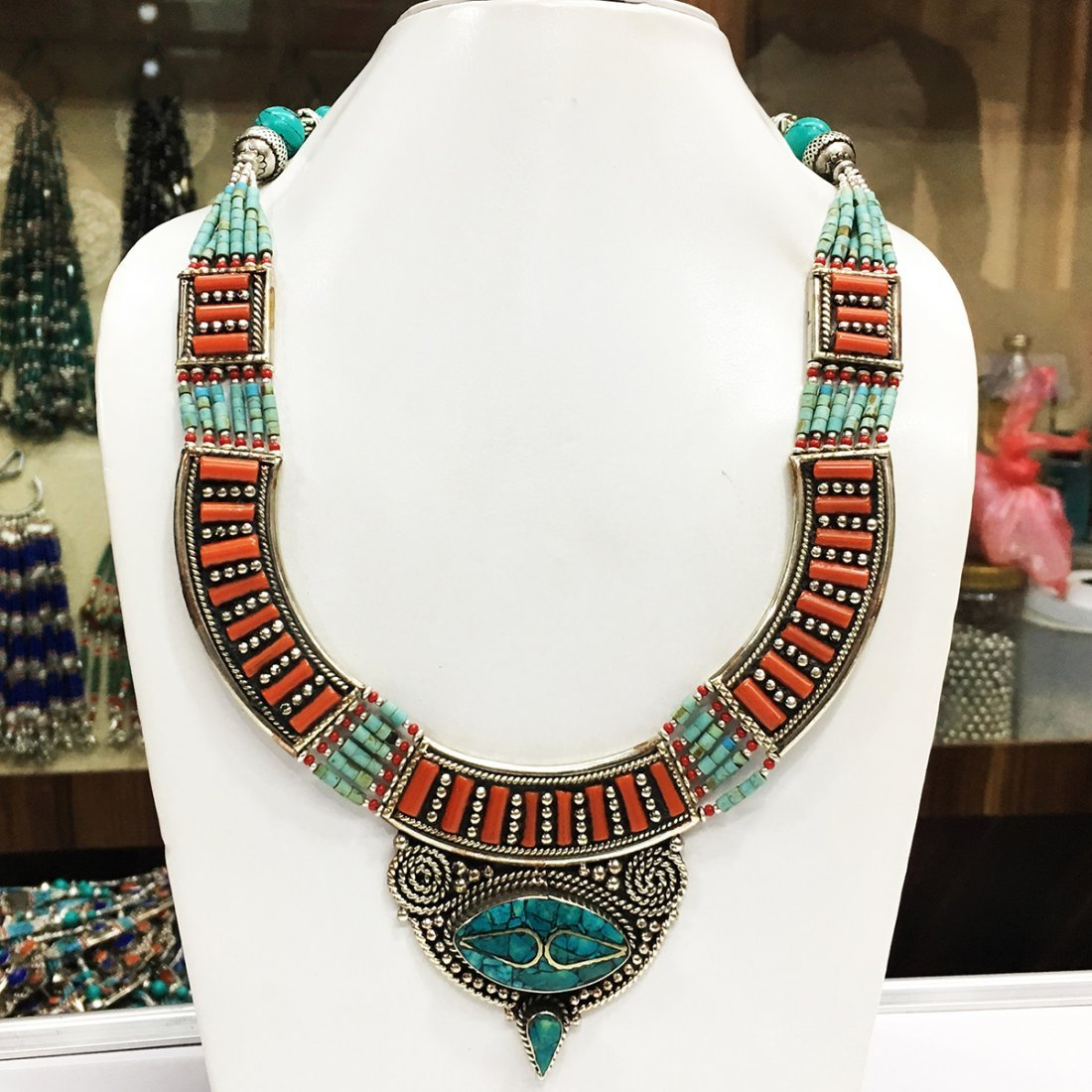 Turquoise & Coral Handmade Antique Necklace
